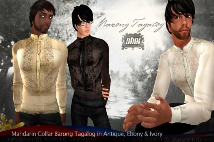 Mandarin Collared Barong Tagalog